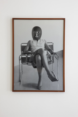 Ursula Mayer, After Bauhaus Archive, Unknown student in Marcel Breuer chair [detail], 2005, 3 screen prints on silver paper, mounted, framed, each 86 x 61 cm
